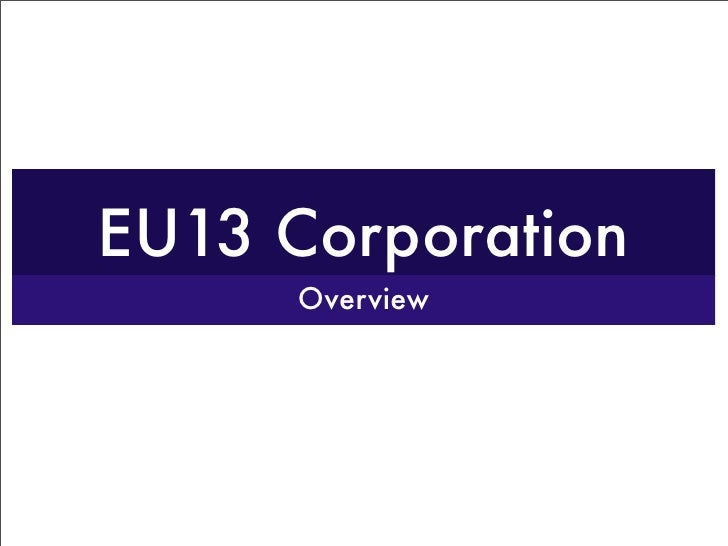 EU13 Corporation       Overview