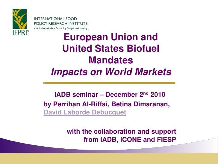 European Union and    United States Biofuel         Mandates  Impacts on World Markets   IADB seminar – December 2nd 2010b...