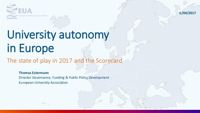 Thomas Estermann Director Governance, Funding & Public Policy Development European University Association The state of pla...
