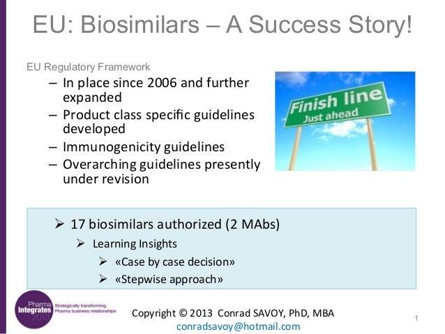 EU: Biosimilars – A Success Story! EU Regulatory Framework  – In  place  since  2006  and  further   expanded...