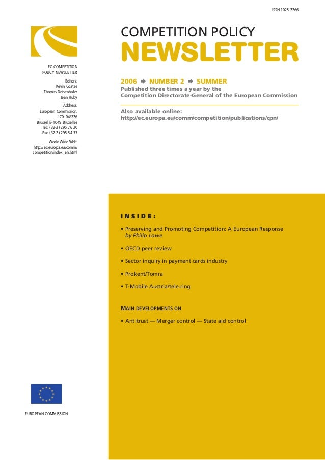 ISSN 1025-2266                                 COMPETITION POLICY           EC COMPETITION        POLICY NEWSLETTER       ...