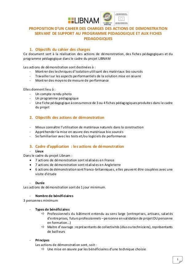 1 PROPOSITION D'UN CAHIER DES CHARGES DES ACTIONS DE DEMONSTRATION SERVANT DE SUPPORT AU PROGRAMME PEDAGOGIQUE ET AUX FICH...