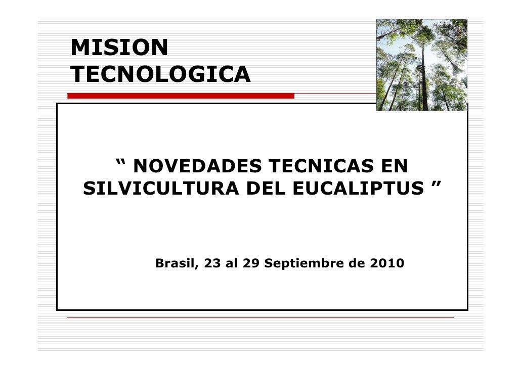 "MISION TECNOLOGICA       "" NOVEDADES TECNICAS EN SILVICULTURA DEL EUCALIPTUS ""        Brasil, 23 al 29 Septiembre de 2010"