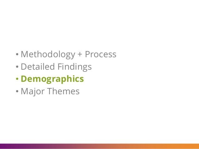 • Methodology + Process • Detailed Findings • Demographics • Major Themes