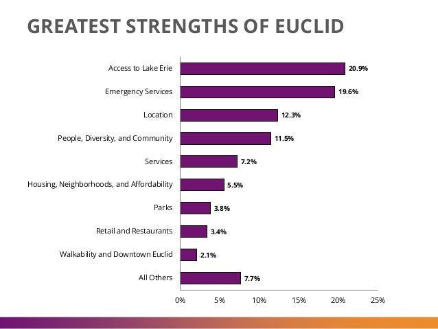 GREATEST STRENGTHS OF EUCLID 20.9% 19.6% 12.3% 11.5% 7.2% 5.5% 3.8% 3.4% 2.1% 7.7% 0% 5% 10% 15% 20% 25% Access to Lake Er...