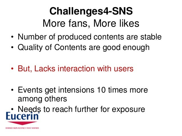 Challenges4-SNS         More fans, More likes• Number of produced contents are stable• Quality of Contents are good enough...