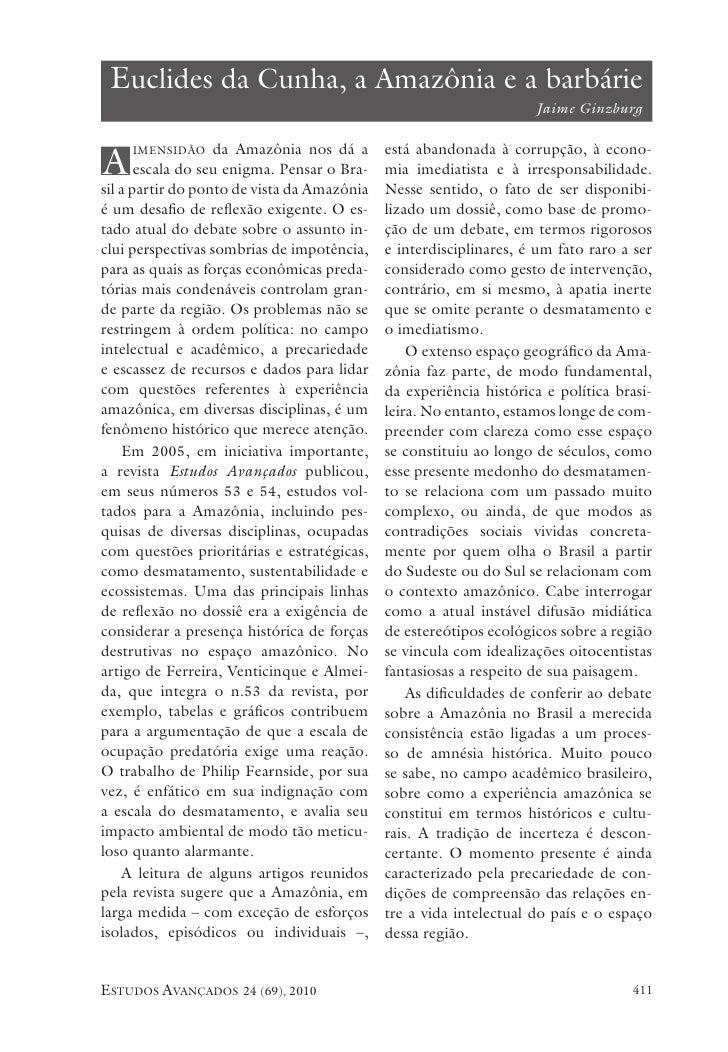 euclides da Cunha, a amazônia e a barbárie                                                                     Jaime Ginzb...