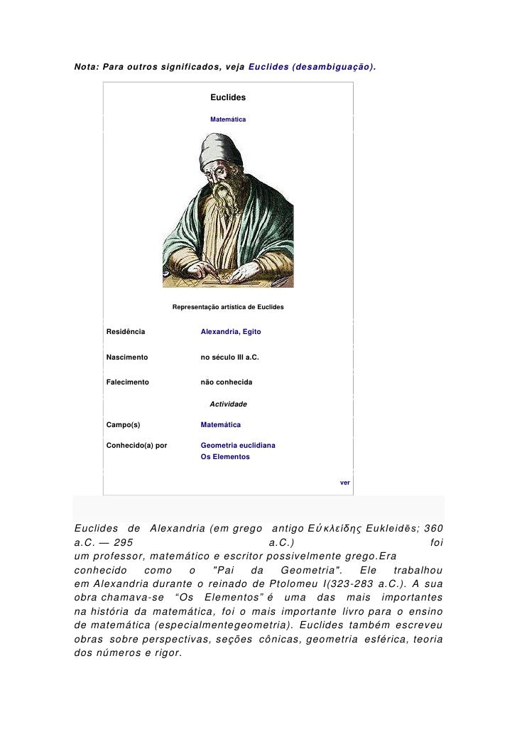Nota: Para outros significados, veja Euclides (desambiguação).                                    Euclides                ...