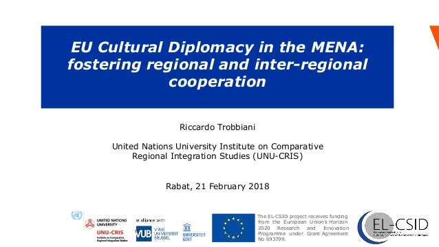 EU Cultural Diplomacy in the MENA: fostering regional and inter-regional cooperation  Programme under Grant Agreement No ...