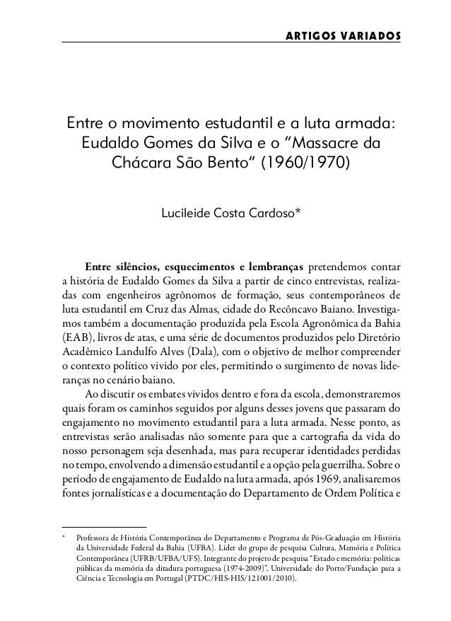 """ART I GO S VARI AD O S    Entre o movimento estudantil e a luta armada:      Eudaldo Gomes da Silva e o """"Massacre da      ..."""
