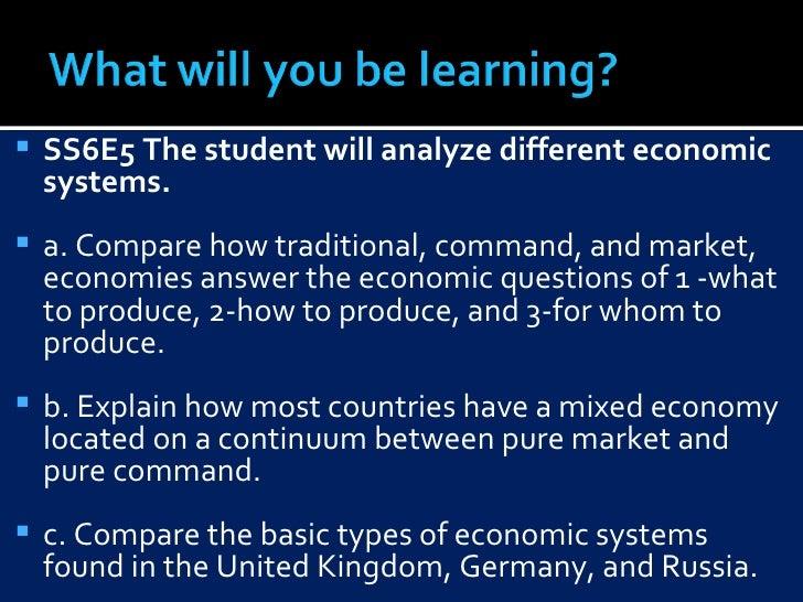 <ul><li>SS6E5 The student will analyze different economic systems.  </li></ul><ul><li>a. Compare how traditional, command,...