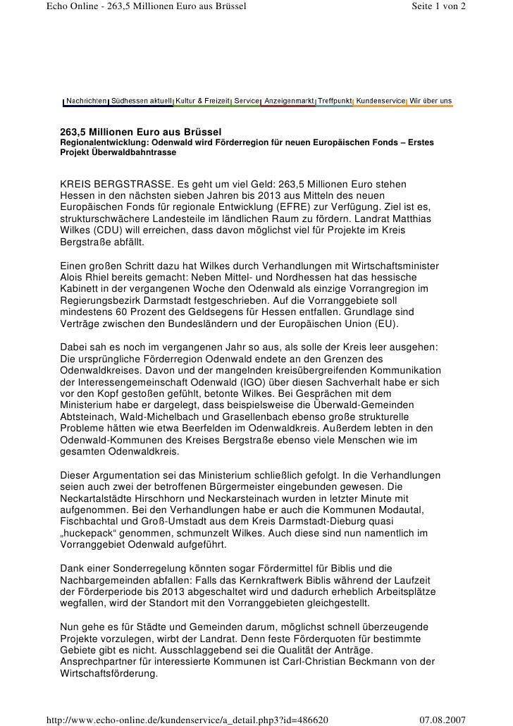 Echo Online - 263,5 Millionen Euro aus Brüssel                                    Seite 1 von 2        263,5 Millionen Eur...