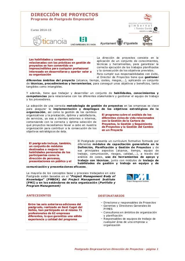 1Postgrado Empresarial en Dirección de Proyectos - página 1 DIRECCIÓN DE PROYECTOS Programa de Postgrado Empresarial Curso...