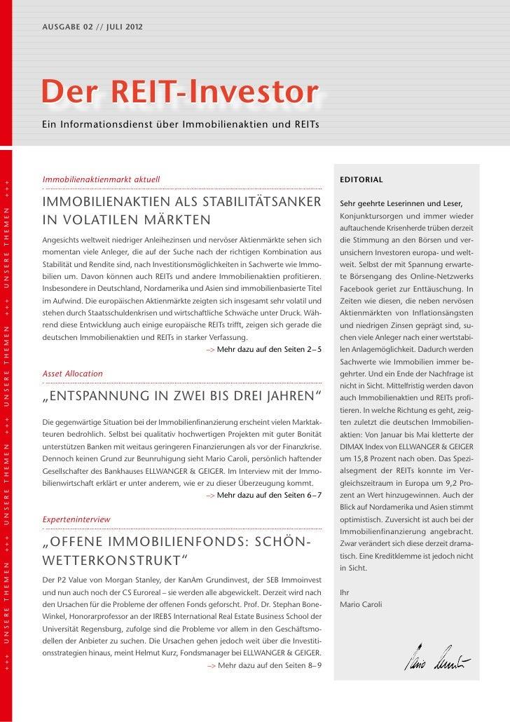 Ausgabe 02 // juli 2012                Der REIT-Investor                Ein Informationsdienst über Immobilienaktien und R...
