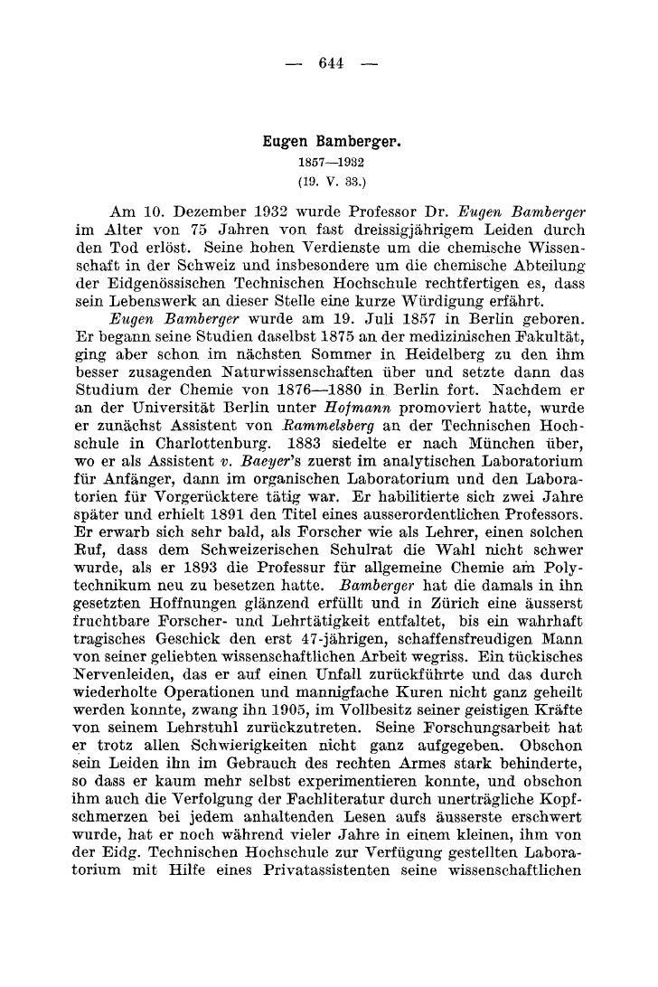 - 644 -                              Eugen Bamberger.                               1857-1932                             ...