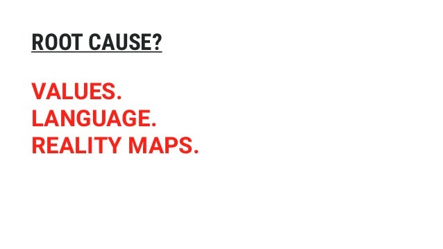 VALUES. LANGUAGE. REALITY MAPS. ROOT CAUSE?