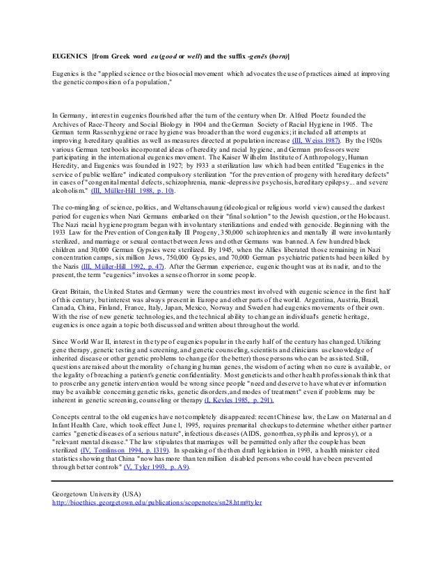 Eugenics Paper Summary