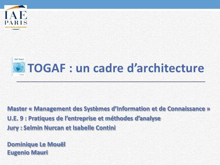 TOGAF : un cadre d'architectureMaster « Management des Systèmes d'Information et de Connaissance »U.E. 9 : Pratiques de l'...