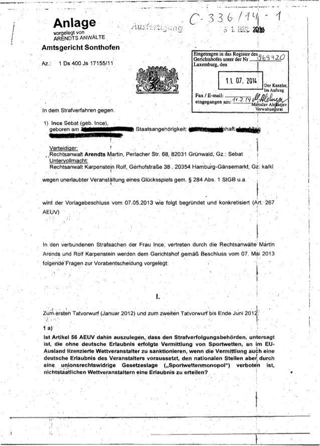 EuGH Vorlagebeschluss Rs. 336/14 - Ince