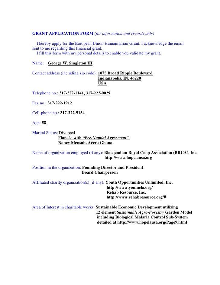 Eu Grant Application Form Receipt Em Part 1 3 5 6 07