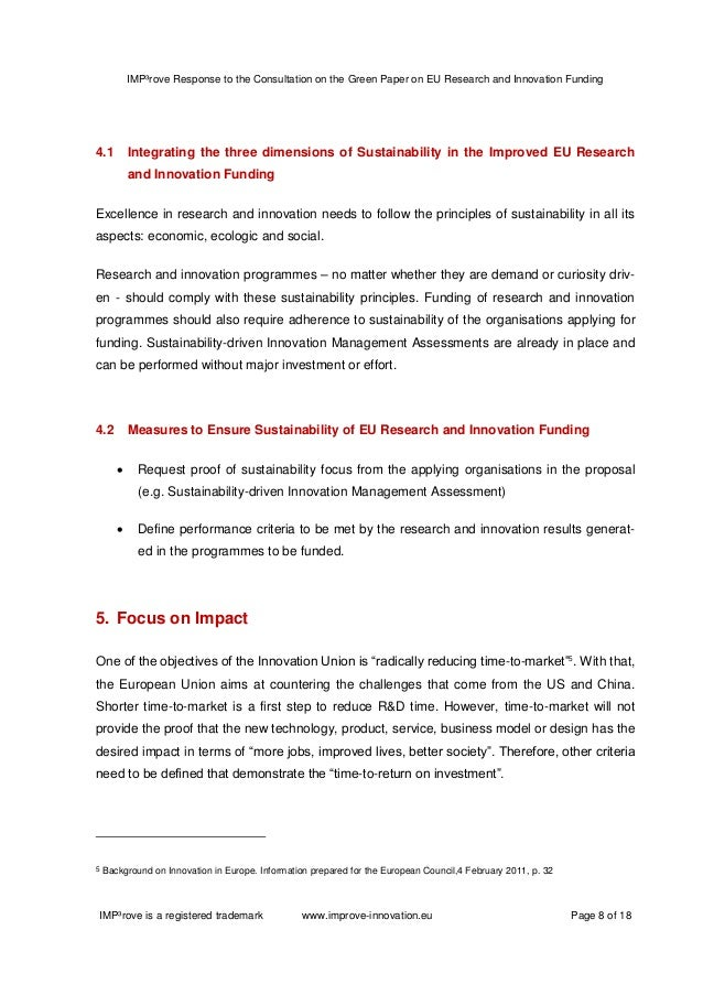 EU research and innovation funding: The consultation on the Green Paper by the Commission