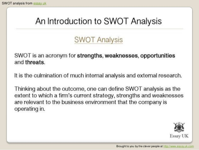 swot analysis of vinamilk essay Example swot analysis the following is an example of a swot (strengths, weaknesses, opportunities and threats) analysis conducted by a business trying to decide if they should introduce a new product to their range.