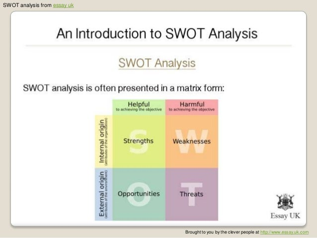 swot analysis 3 essay Swot analysis paper (exxon mobile) conduct an internal and external environmental analysis, and a supply chain analysis for your proposed new division and its business model.