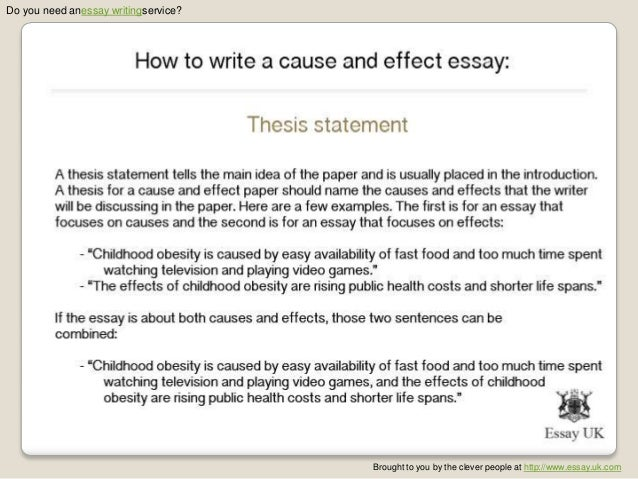 the cause and effect essay report Cause and effect to write a cause and effect essay, you'll need to determine a scenario in which one action or event caused certain effects to occur.