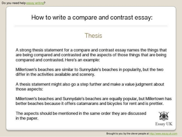 how to write a comparison essay thesis Thesis sentence templates 11 a thesis sentenceis a sentence in the introduction that tells the reader what the topic or argument of the essay is experienced writers have lit-tle difficulty writing thesis sentences this is because they have read and.