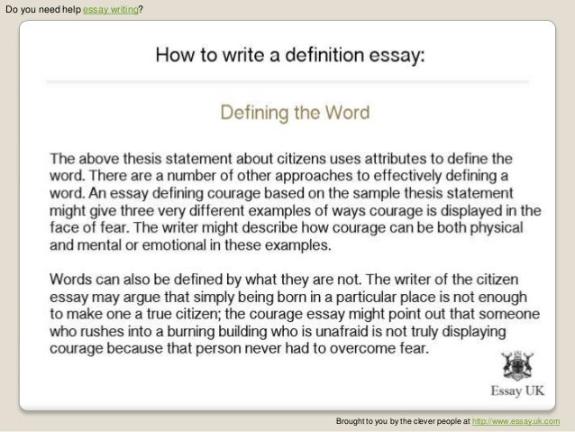 Need essay writing definition