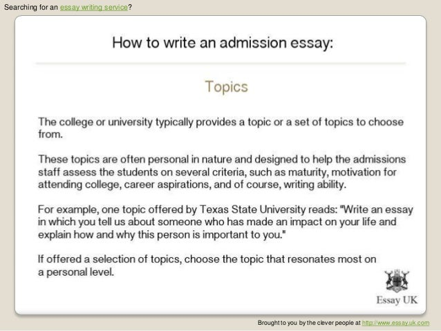Admission essay writing ppt