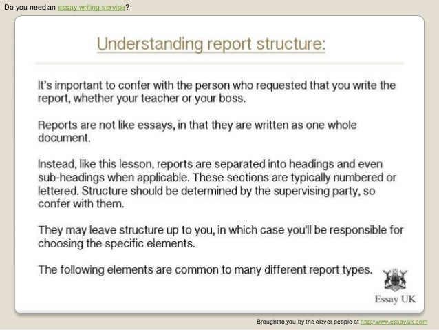 how to write a report essay Do you need to write a lab report rely on us lab report writing comes after you have done the required experiment they form an essential part of your grade and can be included in lab notebooks or submitted independently.