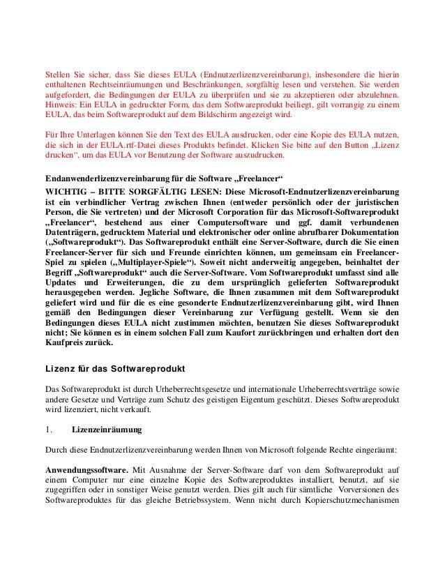 Stellen Sie sicher, dass Sie dieses EULA (Endnutzerlizenzvereinbarung), insbesondere die hierin enthaltenen Rechtseinräumu...