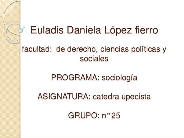 Euladis Daniela López fierro  facultad: de derecho, ciencias políticas y  sociales  PROGRAMA: sociología  ASIGNATURA: cate...