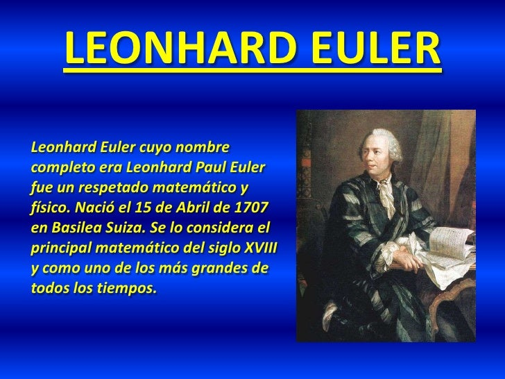 Resultado de imagen para LEONHARD PAUL EULER