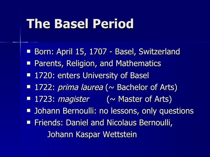 johann bernoulli essay Daniel bernoulli was the son of johann bernoulli he was born in groningen while his father held the chair of mathematics there his older brother was.