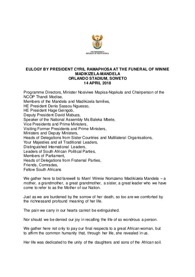 Eulogy by president cyril ramaphosa at the funeral of winnie