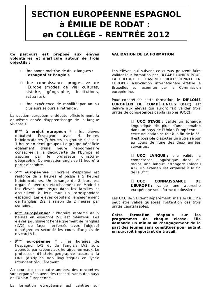 SECTION EUROPÉENNE ESPAGNOL                 à ÉMILIE DE RODAT :             en COLLÈGE – RENTRÉE 2012Ce parcours est propo...