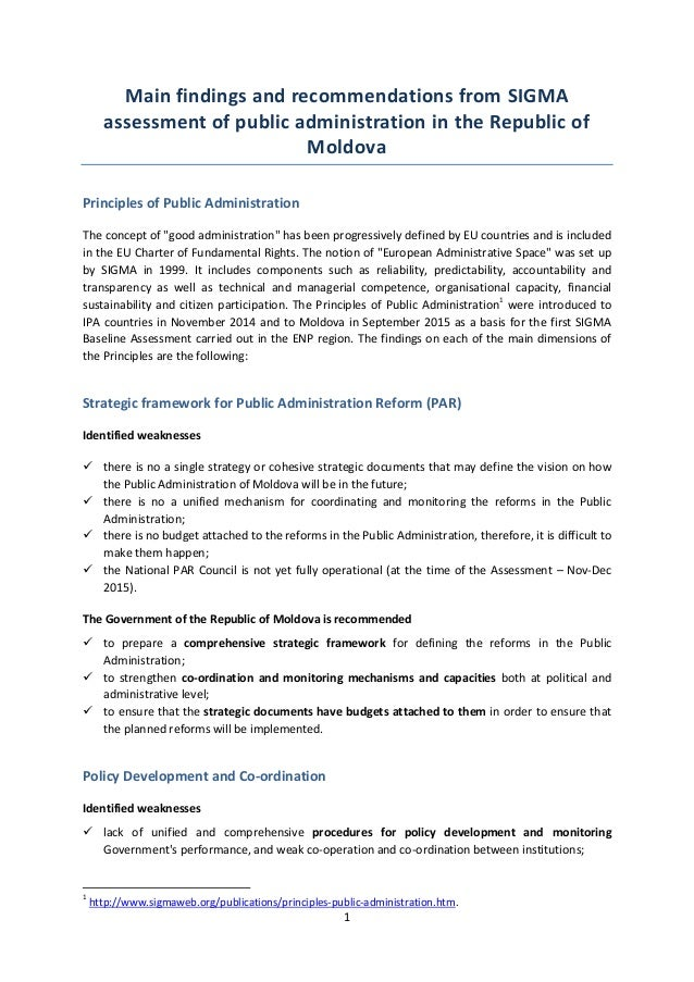1 Main findings and recommendations from SIGMA assessment of public administration in the Republic of Moldova Principles o...