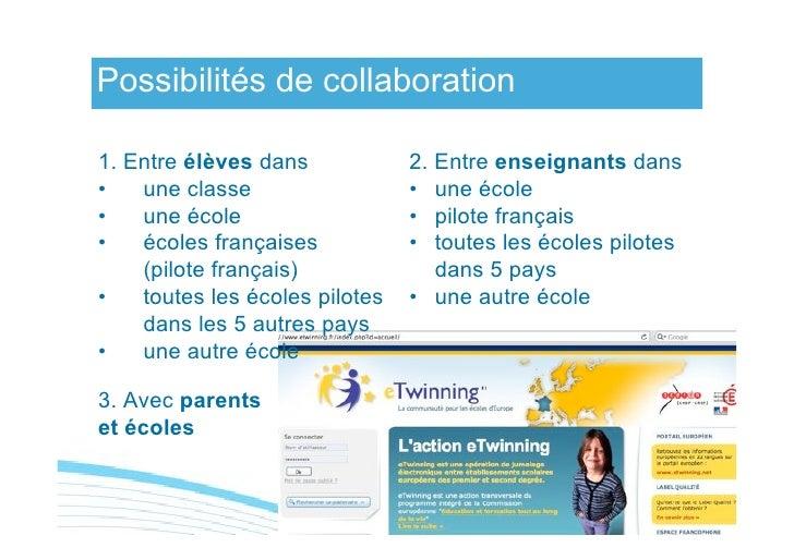 Possibilités de collaboration  1. Entre élèves dans            2. Entre enseignants dans •   une classe                  •...
