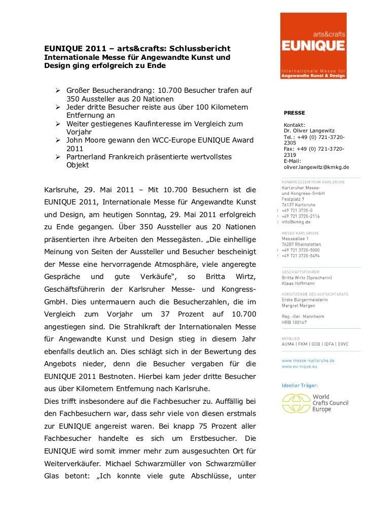 EUNIQUE 2011 – arts&crafts: SchlussberichtInternationale Messe für Angewandte Kunst undDesign ging erfolgreich zu Ende    ...