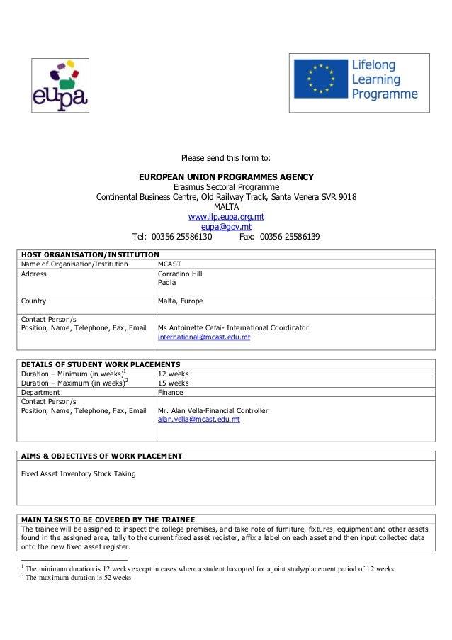 Please send this form to:                                       EUROPEAN UNION PROGRAMMES AGENCY                          ...