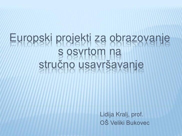 Europski projekti za obrazovanje          s osvrtom na      stručno usavršavanje                      Lidija Kralj, prof. ...