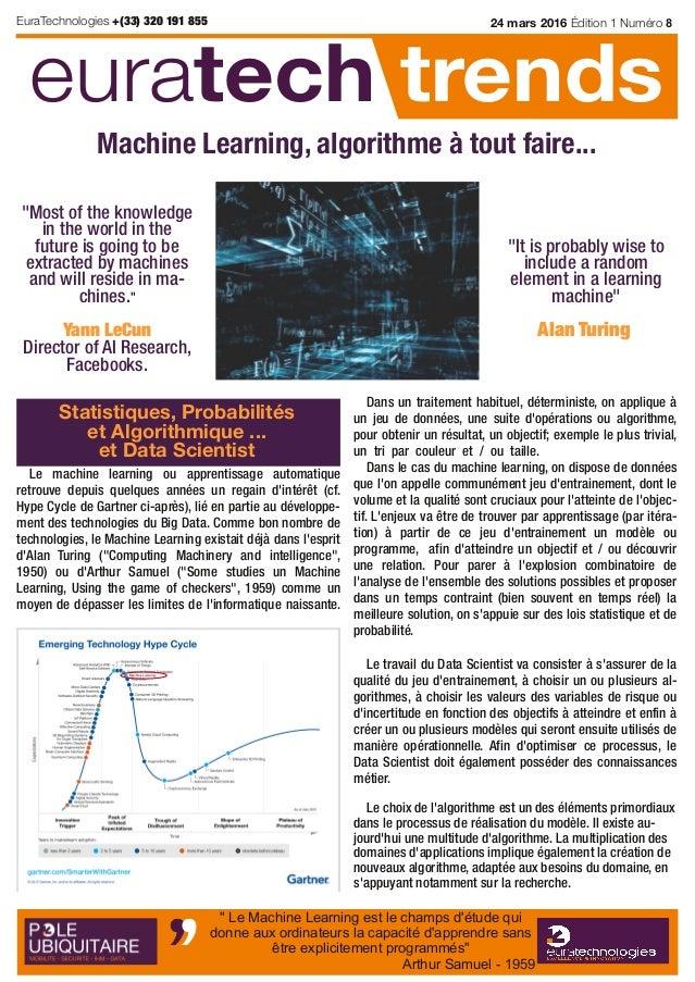 Le machine learning ou apprentissage automatique retrouve depuis quelques années un regain d'intérêt (cf. Hype Cycle de Ga...