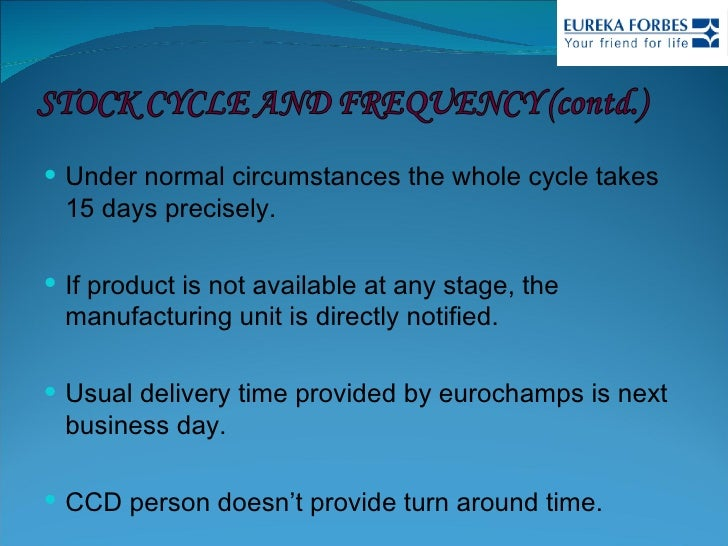 <ul><li>Under normal circumstances the whole cycle takes 15 days precisely.  </li></ul><ul><li>If product is not available...