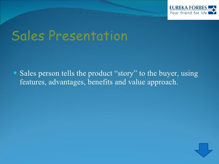 """Sales Presentation <ul><li>Sales person tells the product """"story"""" to the buyer, using features, advantages, benefits and v..."""