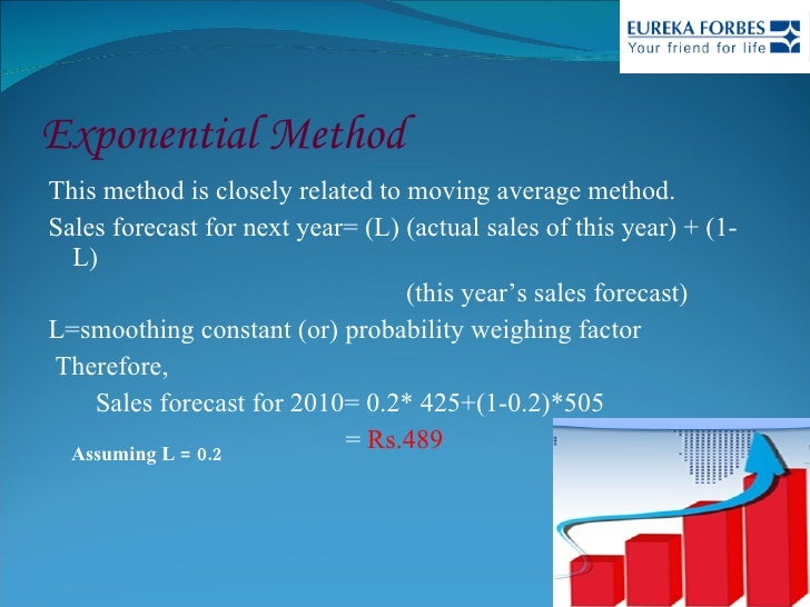 Exponential Method <ul><li>This method is closely related to moving average method. </li></ul><ul><li>Sales forecast for n...