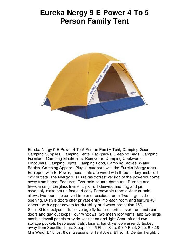 Eureka Nergy 9 E Power 4 To 5 Person Family Tent Eureka Nergy 9 E Power ...  sc 1 st  SlideShare & Eureka nergy 9 e power 4 to 5 person family tent 5 star review musu2026
