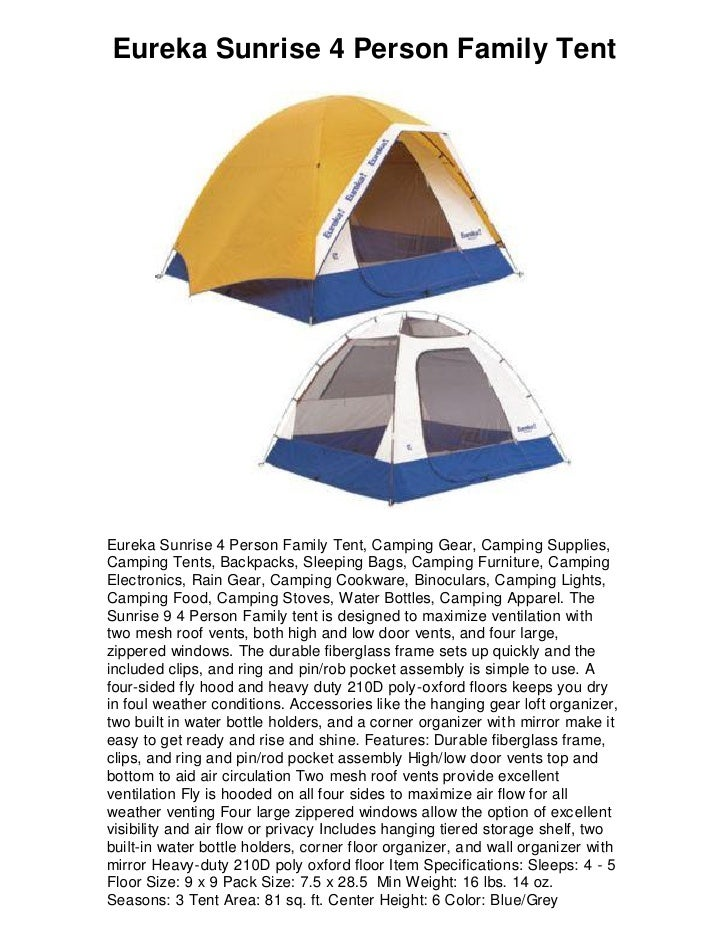Eureka Sunrise 4 Person Family Tent Eureka Sunrise 4 Person Family Tent C&ing Gear ...  sc 1 st  SlideShare & Eureka sunrise 4 person family tent 5 star review must have!