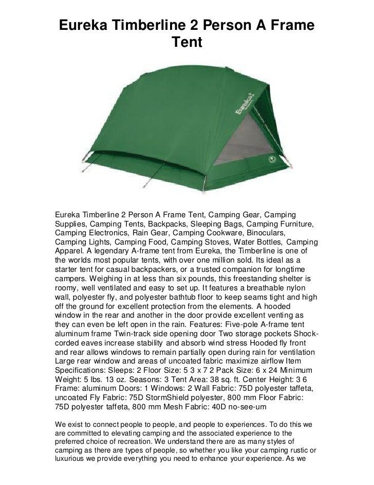 Eureka Timberline 2 Person A Frame Tent Eureka Timberline 2 Person A Frame Tent ...  sc 1 st  SlideShare & Eureka timberline 2 person a frame tent 5 star review must have!